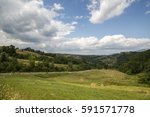 Panoramic View Of A Hay Field...