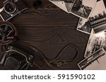 old camera  acsessories and... | Shutterstock . vector #591590102