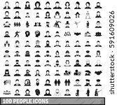 100 people icons set in simple... | Shutterstock .eps vector #591609026