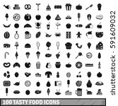 100 tasty food icons set in... | Shutterstock .eps vector #591609032