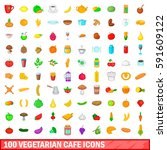 100 vegetarian cafe icons set... | Shutterstock .eps vector #591609122