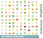 100 agriculture icons set in... | Shutterstock .eps vector #591609152