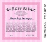 pink certificate template....   Shutterstock .eps vector #591610442