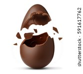 Stock photo chocolate egg exploded 591617762