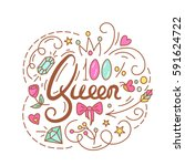 queen text. the roses and... | Shutterstock .eps vector #591624722