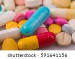 different tablets pills capsule ... | Shutterstock . vector #591641156