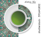 cup of green tea with doodle... | Shutterstock .eps vector #591641852