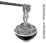 doodle noodle at bowl and stick.... | Shutterstock .eps vector #591644228