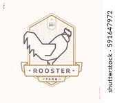 rooster linear logo  vintage...   Shutterstock .eps vector #591647972