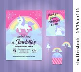 unicorn birthday party... | Shutterstock .eps vector #591655115