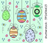 doodle of easter egg style... | Shutterstock .eps vector #591656615