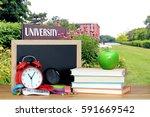 the front of university in... | Shutterstock . vector #591669542