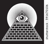 an iconic all seeing eye symbol ... | Shutterstock .eps vector #591670106