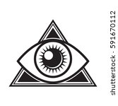 an iconic all seeing eye symbol ... | Shutterstock .eps vector #591670112