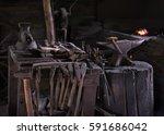 blacksmith shop  tool detail | Shutterstock . vector #591686042