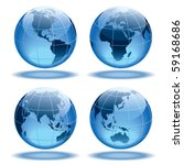 four globes showing earth with... | Shutterstock .eps vector #59168686