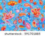 hand drawn flower seamless... | Shutterstock . vector #591701885