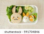 bunny rabbit easter lunch box ... | Shutterstock . vector #591704846