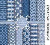 set of seamless vector... | Shutterstock .eps vector #591714215