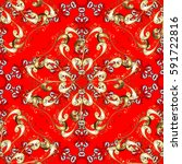 vintage baroque floral seamless ... | Shutterstock .eps vector #591722816