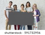 group of friends holding blank... | Shutterstock . vector #591732956