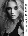 portrait of young beautiful... | Shutterstock . vector #591733592