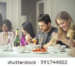 food and happiness | Shutterstock . vector #591744002