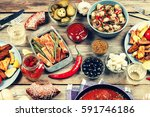 dinner table with variety food  ... | Shutterstock . vector #591746186
