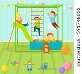 kids playroom with light... | Shutterstock .eps vector #591748022