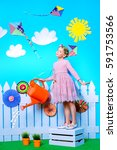 portrait of a cute child girl...   Shutterstock . vector #591753566