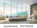 modern bedroom with mountain...   Shutterstock . vector #591756425