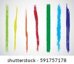 set of grunge brush strokes | Shutterstock .eps vector #591757178