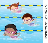 kids practice swimming in the... | Shutterstock .eps vector #591757922