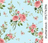 seamless watercolor pattern... | Shutterstock . vector #591776396