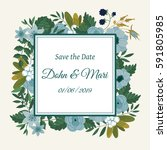 cute wedding invitation... | Shutterstock . vector #591805985