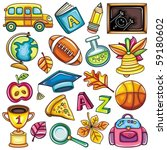 colorful school icons | Shutterstock .eps vector #59180602