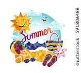 summer time raster background... | Shutterstock . vector #591806486