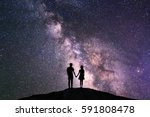 silhouette of couple with night ... | Shutterstock . vector #591808478