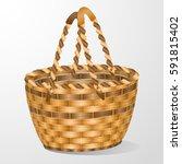 easter basket.wicker basket... | Shutterstock .eps vector #591815402