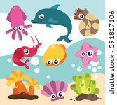 seamless underwater cartoon... | Shutterstock .eps vector #591817106
