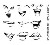 cartoon faces set | Shutterstock .eps vector #591818042
