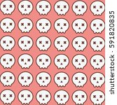 cute skull pattern in pink... | Shutterstock .eps vector #591820835