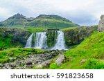 view of the kirkjufellsfoss... | Shutterstock . vector #591823658