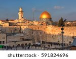 western wall and golden dome of ... | Shutterstock . vector #591824696