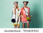 fashion spring image of two... | Shutterstock . vector #591829352