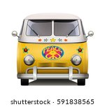 vintage hippie van. isolated...