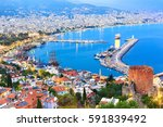 view of alanya harbor before... | Shutterstock . vector #591839492