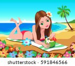 hot girl on a beach lays with... | Shutterstock .eps vector #591846566