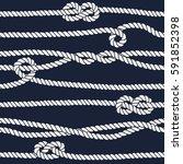 marine rope knot seamless... | Shutterstock . vector #591852398