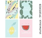 hello summer cute card with... | Shutterstock .eps vector #591853028